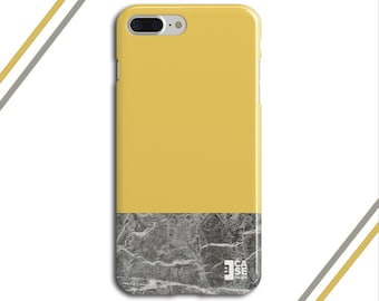 Promise Yellow x Grey Marble Two Toned Phone Case, iPhone 7, iPhone 7 Plus, Tough iPhone Case, Galaxy s8, Samsung Galaxy Case, CASE ESCAPE