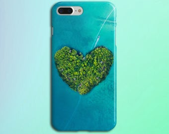 Heart Shaped Island x Blue Ocean Yacht Cruise Phone Case, iPhone X, iPhone 8 Plus, Rubber Phone Case, Galaxy s8 Samsung, Nature CASE ESCAPE