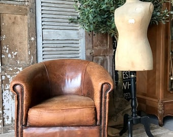 NOW SOLD - Vintage French leather club chair