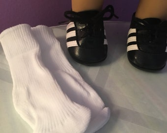 "Doll soccer shoes fits 18"" or American Girl doll, cleats on bottom, socks optional!"