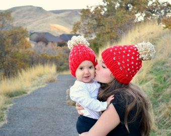 Mommy & Me Fair Isle Knit Beanies, Mommy And Me Winter Hats | THE VICTORIA SET \ Red And Cream