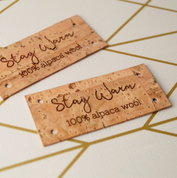 Knitting Labels Custom : Handmade logo labels custom cork leather with