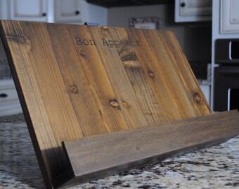 Personalized Cookbook Stand - Custom Laser Engraving, Rustic Distressed Wood with hand bent steel backrest