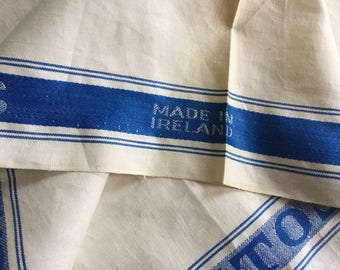 GLASS Irish Linen Kitchen Cloth Tea Towel Off-White Blue Frame Large NOS New Old Stock Made in Ireland