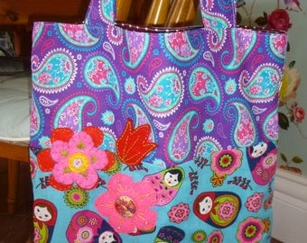 Babushka inspired tote shopping bag with felt flower embroidered detail