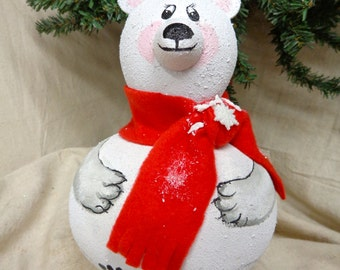 Hand crafted gourd polar bear with red scarf by Debbie Easley