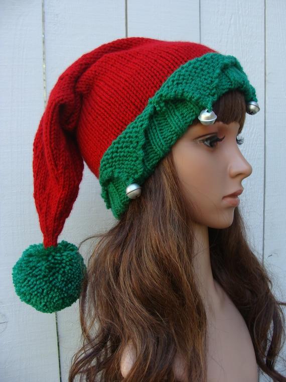 Knitting Pattern For Elf Hat : PATTERN 146: Santas Elf Knit Hat with Pom-pom Elf by ...