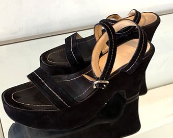Prada Shoes Platform Shoes Suede Shoes Vintage 80s Italian Prada Sandals