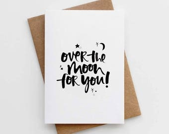 Modern Congratulations Card - Over The Moon For You Card - Celebration Card - Well Done Card