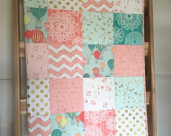 Balloon baby quilt, hot air balloons, chevrons, birds, coral-mint-pink-gold shimmer