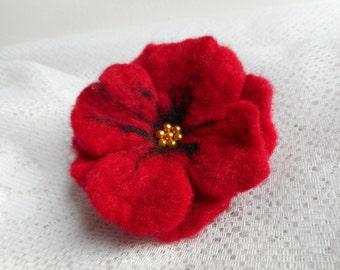 SALE Felt flower,black red felt flower brooch, felt brooch flower,poppy red flower, felt jewelry,poppy felt flower,hairclip wool felt flower