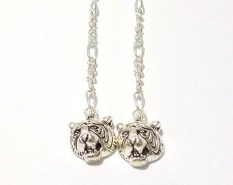 Earrings, tiger earrings, dangle earrings, silver earrings, long earrings