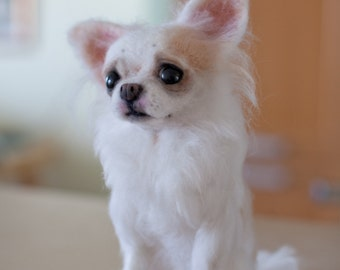 Custom Dog Portrait felted long hair  Chihuahua sculpture pet memorial 22cm made to order 4 weeks