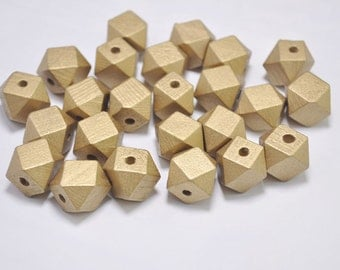 20 Gold Geometric Wood Beads,Hand Painted wood Beads 15mm,Polygonal,Spaced beads,DIY Geometric necklace/ keyring,Make jewellery for selling