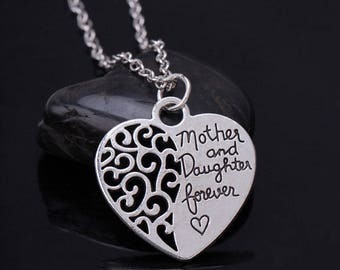 Mother And Daughter Forever Silver Love Heart Pendant Necklace