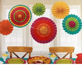 Set Of 6 Colorful Fiesta Hanging Fans In 3 Sizes! - Candy Buffet Backdrop  Beautiful Fun - Party Decor - Cinco de Mayo!