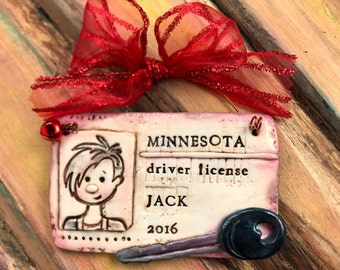 Personalized Polymer Clay License / Drivers License / Keys / New Driver / State License Keepsake Ornament