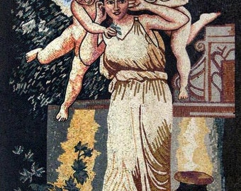 Woman And Two Angels Marble Mosaic Art Tile Mural