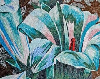 Blue Flower Blossoms Custom Mosaic