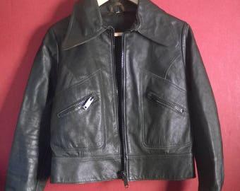 Vintage 70s Leather Jacket  Mc Jacket VINTAGE 1990s COAT Womens Leather Jacket Slimfit ZipUp 36-38 XS TinyFit  leather jacketCoatblack