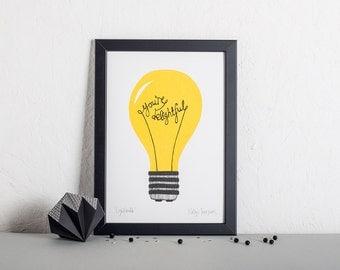 Wall Art, Screen Print, Living room print, Kid's room, Nursery Decor, Colourful Illustration- You're Delightful Lightbulb