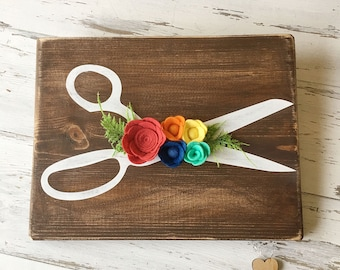 Rainbow Felt Flowers with White Craft/Sewing Scissors on Walnut Stained Board