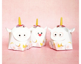 "plotterdatei - geometrical gift box ""unicorn"" 3in1"