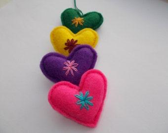 Set of 4 - Felt Heart Ornament,Valentine Heart, Embroidered Heart, Bag Charm, Cute Love Gift,Key Chain,Mini Pincushion,Colorful Love Hearts