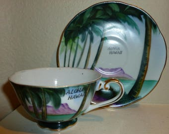 Vintage Hawaii Teacup And Saucer 1950's-1960's