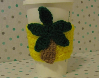 Palm Tree Cup Cozy, Crochet Sleeve, Drink Holder, Summer Gift, Reusable Cozy, Hot or Cold Beverages, Birthday Gift, Cup Warmer, Party Favor
