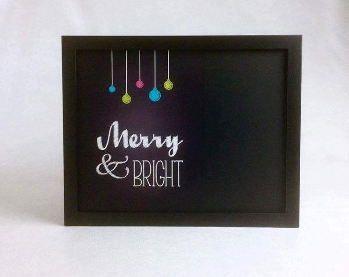 Decorative Christmas Chalkboard - Holiday Wall Art - Framed Chalkboard - Bulletin Board - Memo Board - Message Board