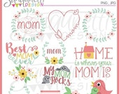 60% OFF Mother's Day Clipart, mothers day clipart, mother's day, mothers day clip art, floral clipart, flower clipart, spring clipart
