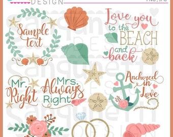 Beach Wedding Clipart, Wedding Clipart, Bridal Clipart, Beach Clipart, Summer Clipart, instant download