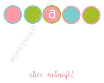 Monogram note card, personalized flat note cards, stationery, monogram or name
