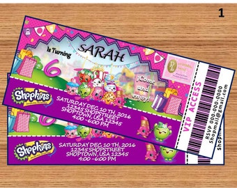 """SHOPKINS Inspiration 1, 2 or 3 Birthday Party Ticket Invitation Personalized Printable 3"""" x 7"""" Digital File"""