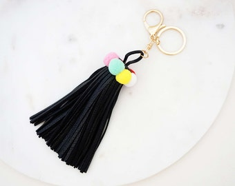 Black and Multicolor Leather Tassel Statement Keychain
