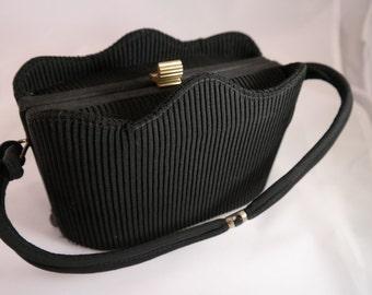 Vintage Black Pleated Fabric Evening Handbag Purse, Mad Men Style, 1950's Woman's Black Evening Purse,