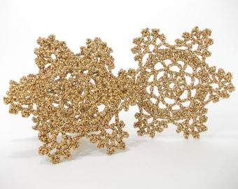 Golden snowflakes, Crochet  rustic ornaments, lace shimmering snowflakes, crochet snowflakes, Christmas tree ornaments, Set of 9