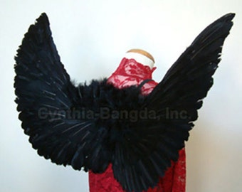 BlAcK Feather Angel wings BV4 L for Teens and Adults