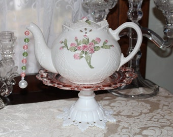 Pink Rose and Lace Teapot Standing Centerpiece or Vase, Wedding,  Bridal or Baby Shower, Wonderland Mad Hatter Tea Party Decoration