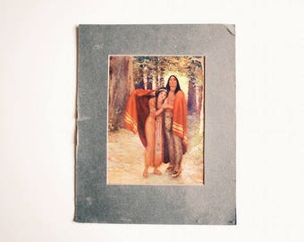 Walter De Maris | Indian Print | Vintage | Antique | Native American | Indian Maiden | Chief