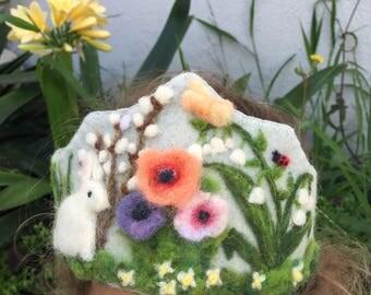Felt Crown, Birthday Crown, Waldorf Crown - Spring Flowers with Bunny