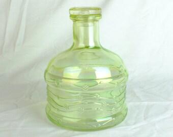 Vintage Green Iridescent Glass Decanter Retro green glass decanter Lime green bottle