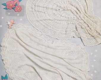 Baby shawl vintage crochet and knitting pattern two shawls pdf INSTANT download pattern only