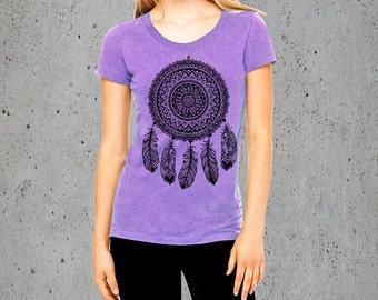 Womens Shirt-BOHO TShirt DREAMCATCHER Shirt) Feather Shirt Dream Catcher T Shirt-Graphic Tees For Women,Bohemian Clothing-Yoga Shirt-