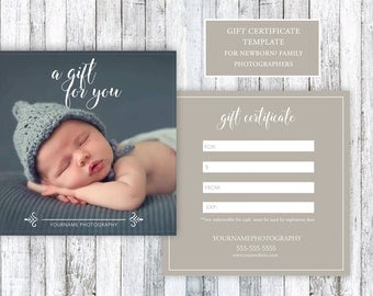 Newborn / Family Photography Gift Certificate Template 5x5 PSD for Photoshop