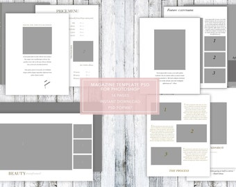 Glamour / Boudoir / Beauty / Fashion Photography Magazine Template PSD for photoshop ~ 16 pages!