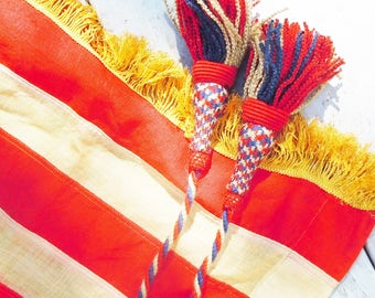48 Star American Flag /  Gold Knotted Fringe and Large Tassles / Linen / Banner Style / Authentic Vintage Flag