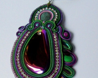 Pendant soutache Purple - Green