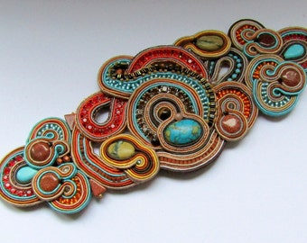Soutache bracelet with zircons - Wide